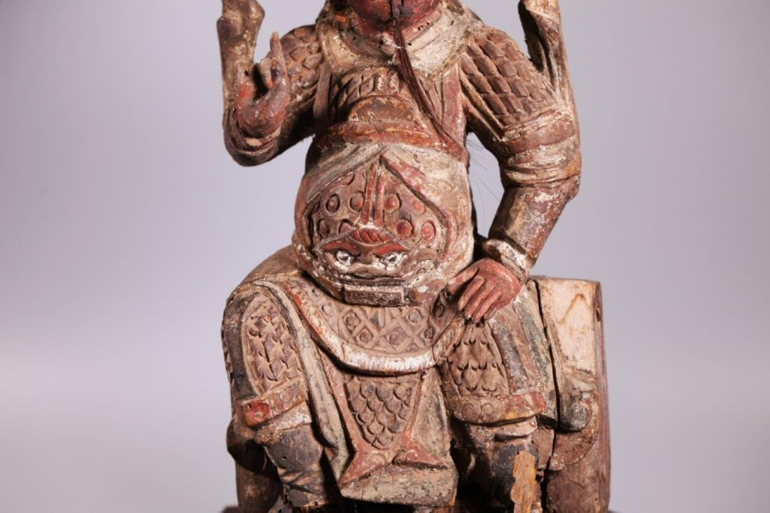 Antique Chinese Qing Dynasty Carved Wood Guandi - 5