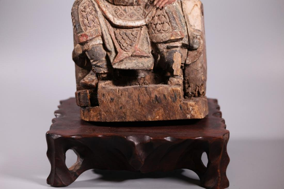 Antique Chinese Qing Dynasty Carved Wood Guandi - 6