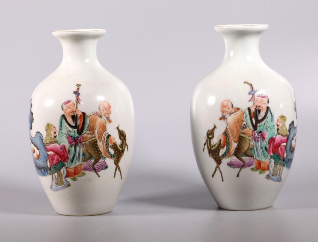 Mirror Pr Chinese Fu, Lu, Shou Porcelain Vases