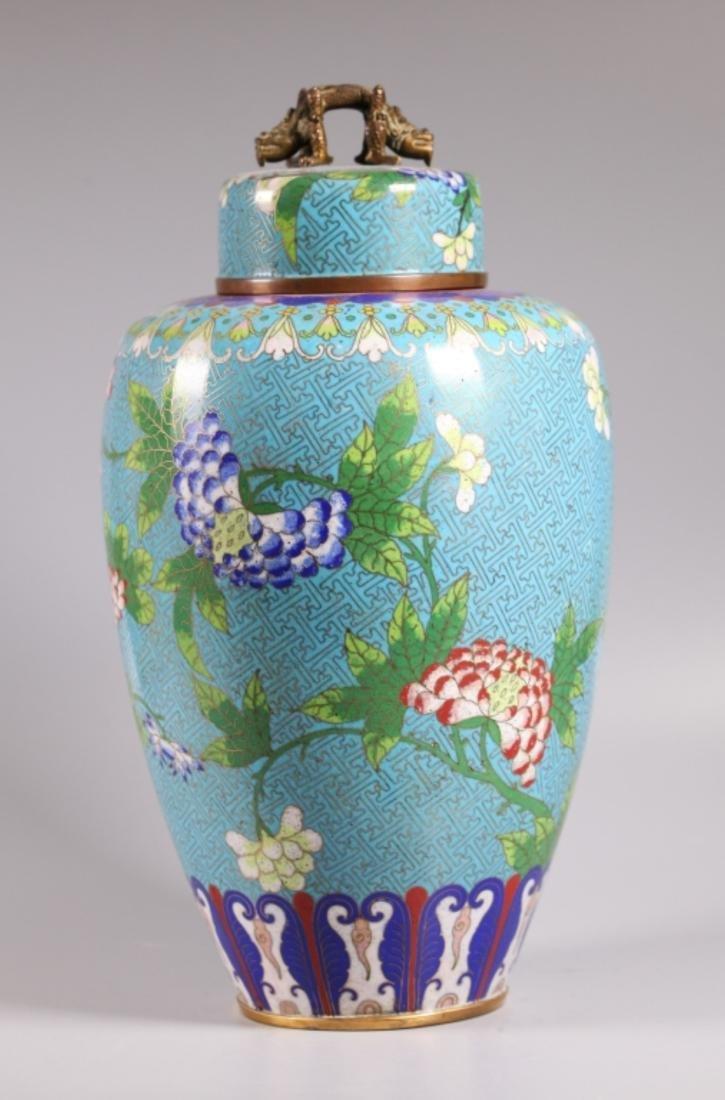 Fine Large Chinese Cloisonne Tea Jar & Cover