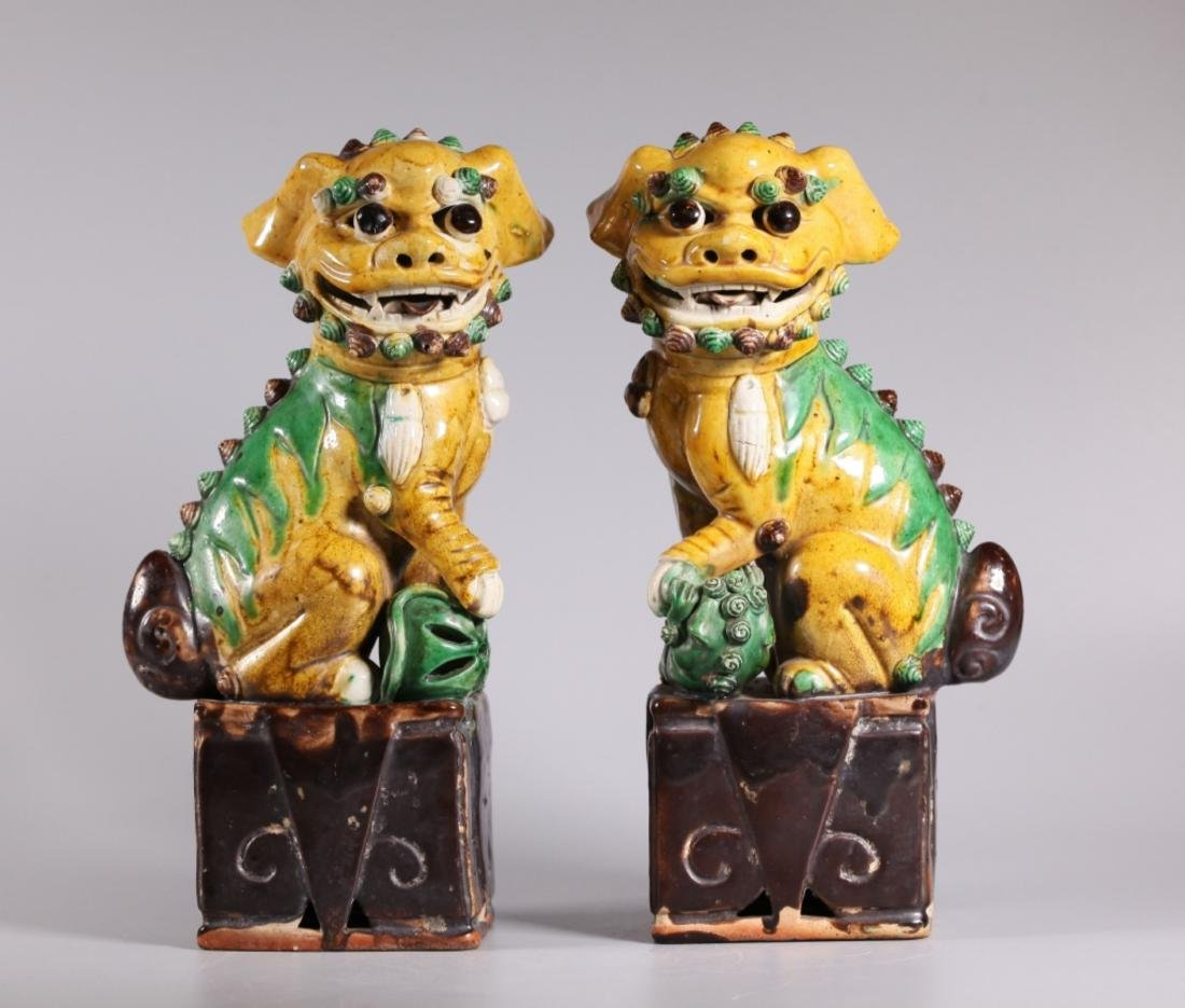Pair Qing Dynasty Fu Dogs Glazed over Biscuit