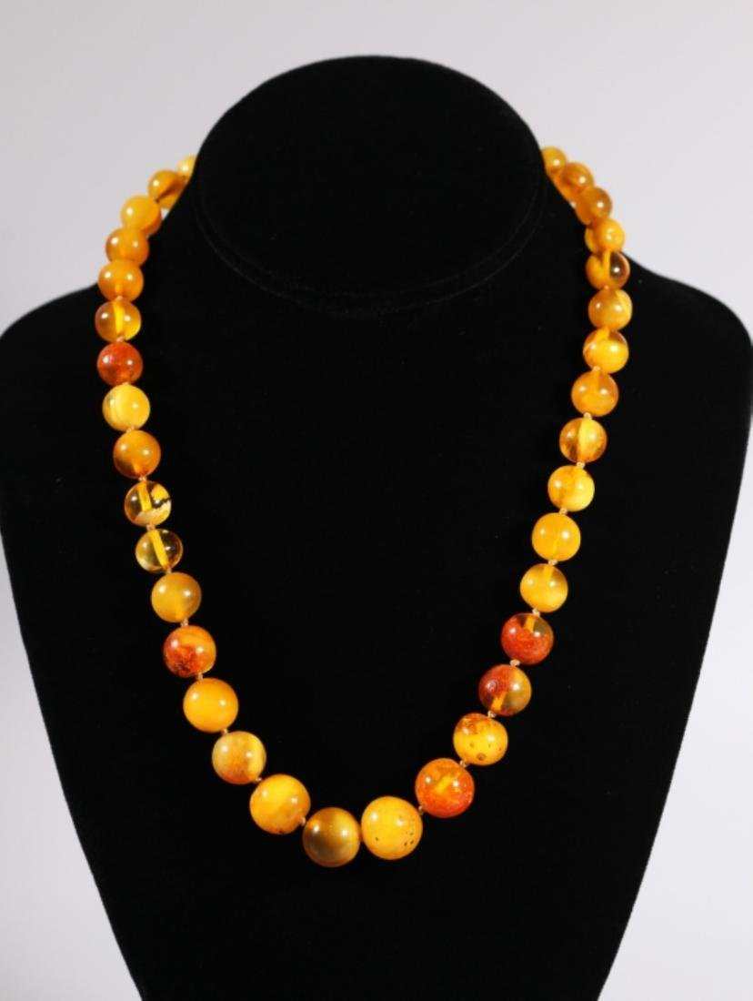 Amber Bead Necklace; Total Weight 34G