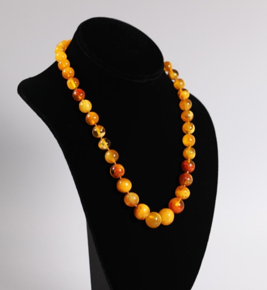 Amber Bead Necklace; Total Weight 34G - 2