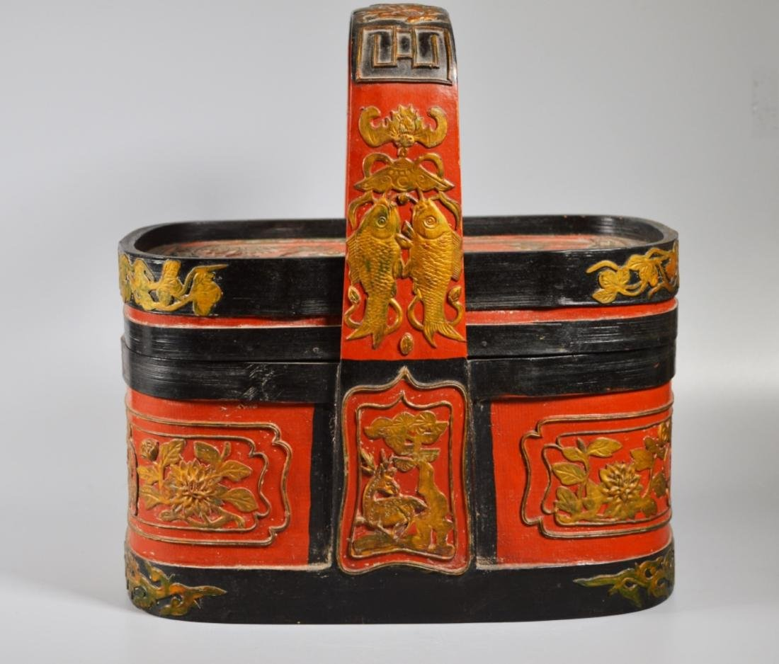 Chinese Lacquered Bamboo Lunch Basket