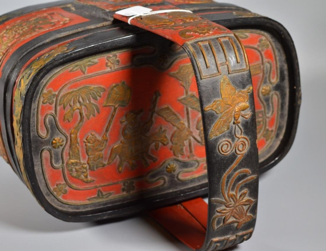 Chinese Lacquered Bamboo Lunch Basket - 3