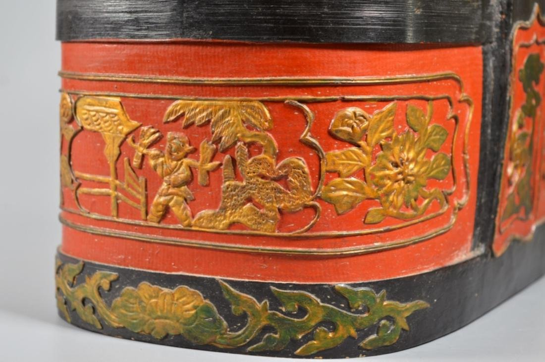 Chinese Lacquered Bamboo Lunch Basket - 4