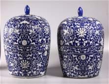 Pr Lg Chinese Blue & White Enameled Porcelain Jars