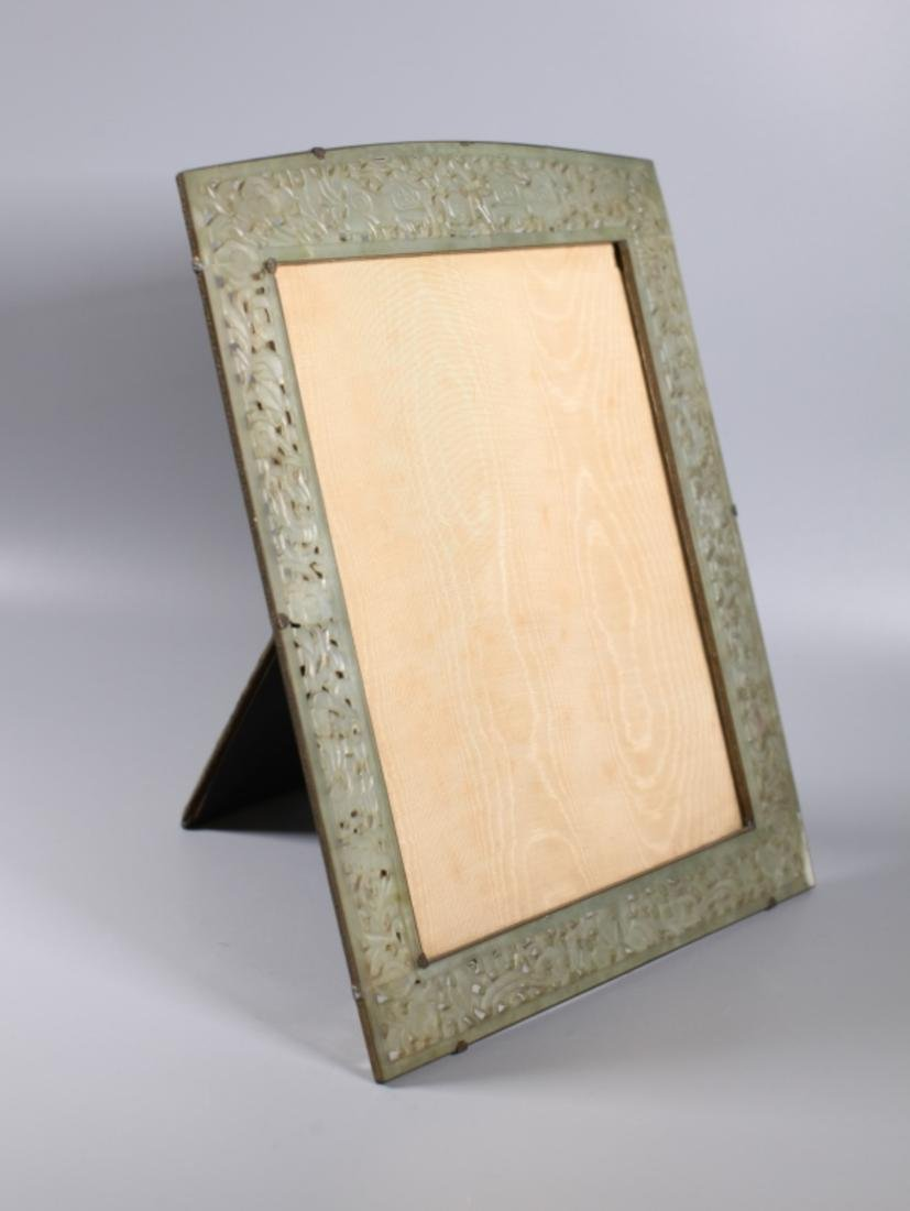 Late Qing Chinese Carved Hardstone Picture Frame - 2