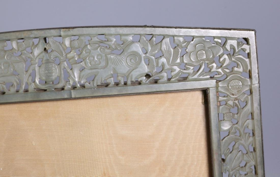 Late Qing Chinese Carved Hardstone Picture Frame - 4