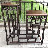 Chinese Hardwood Double Exhibition Stand