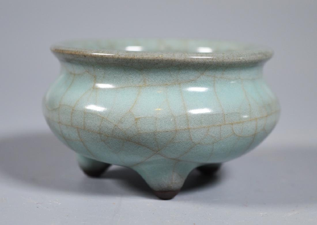 Small Guanyao Pale Blue Crackle Tripod Censer