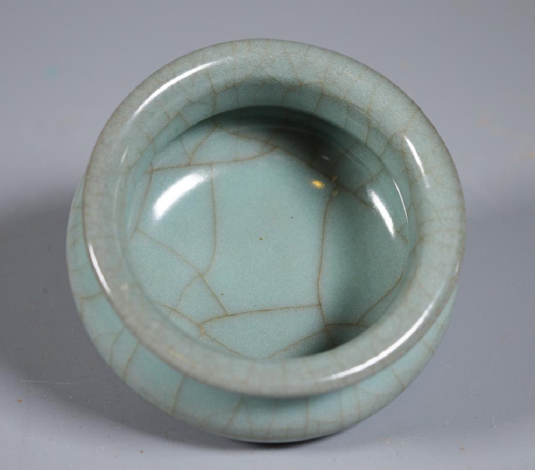 Small Guanyao Pale Blue Crackle Tripod Censer - 4