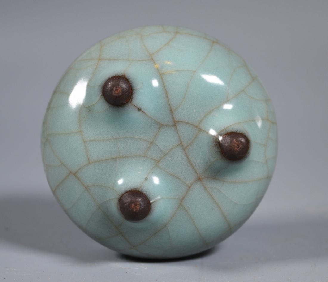 Small Guanyao Pale Blue Crackle Tripod Censer - 5