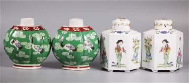 Two Pairs Chinese Enameled Porcelain Tea Caddies