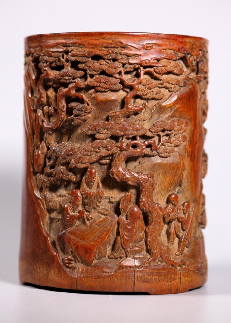 Chinese Finely Carved Bamboo Brush Pot - 2