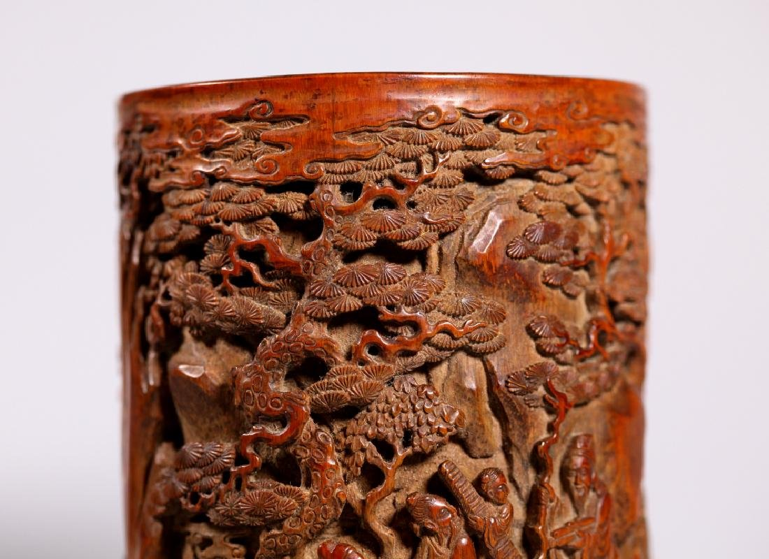 Chinese Finely Carved Bamboo Brush Pot - 5