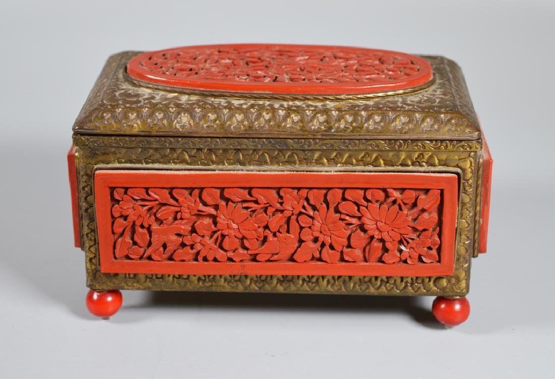 Chinese Carved Cinnabar Lacquer & Brass Box