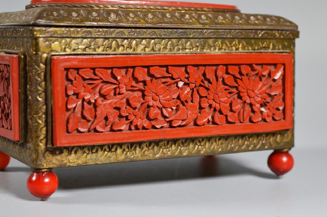 Chinese Carved Cinnabar Lacquer & Brass Box - 2