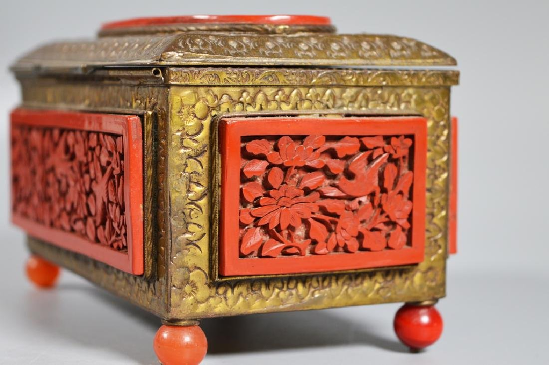 Chinese Carved Cinnabar Lacquer & Brass Box - 3