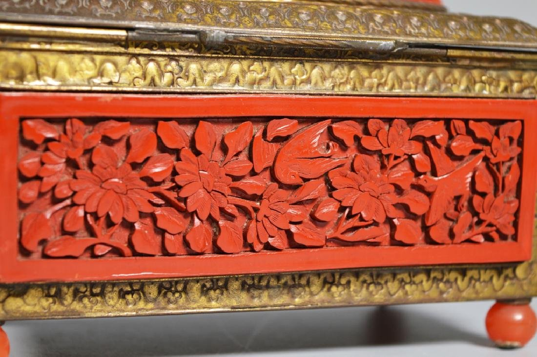 Chinese Carved Cinnabar Lacquer & Brass Box - 4