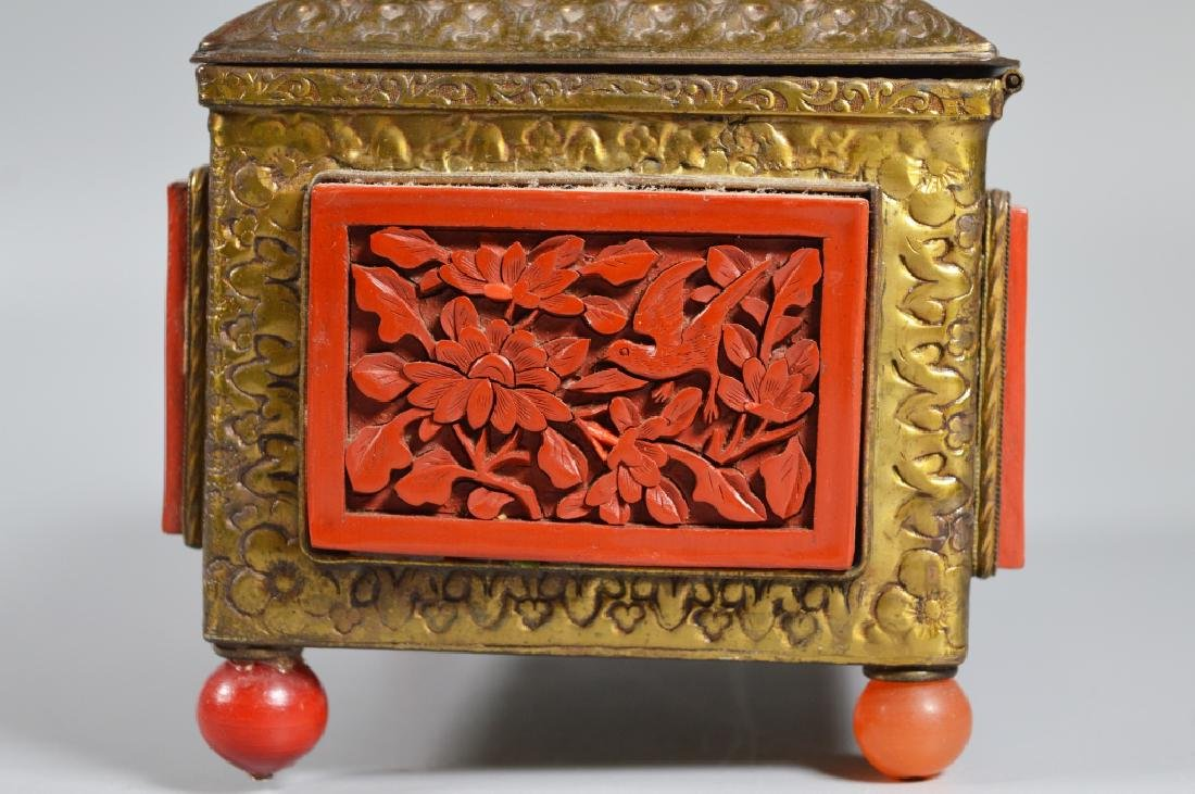 Chinese Carved Cinnabar Lacquer & Brass Box - 5