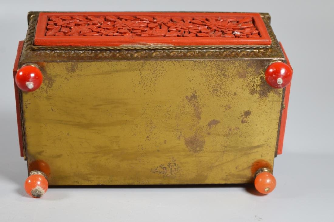 Chinese Carved Cinnabar Lacquer & Brass Box - 7