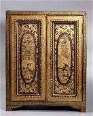 Chinese 19 C Gold on Black Lacquer Tea Cabinet