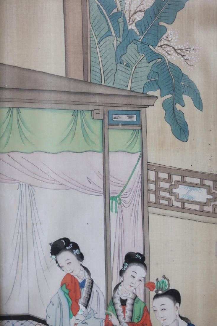Two 19 C Chinese Paintings on Silk; Chinese Frames - 10