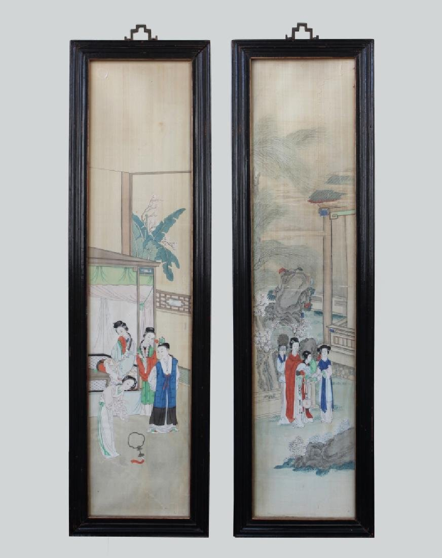 Two 19 C Chinese Paintings on Silk; Chinese Frames