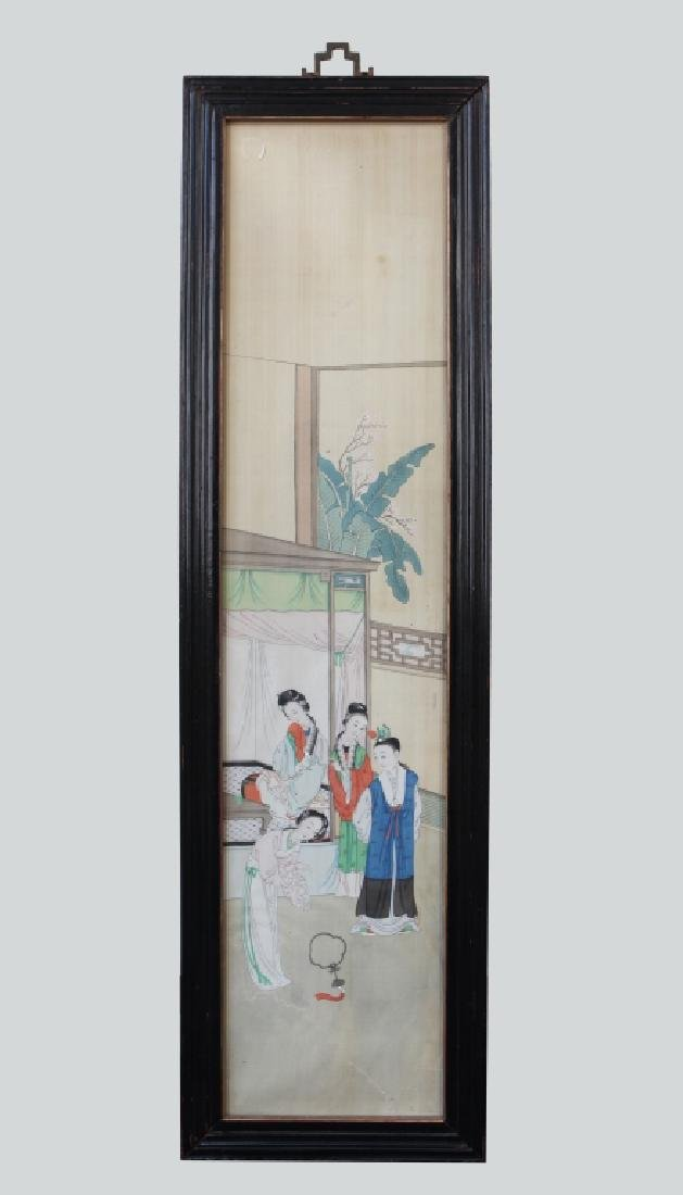 Two 19 C Chinese Paintings on Silk; Chinese Frames - 2