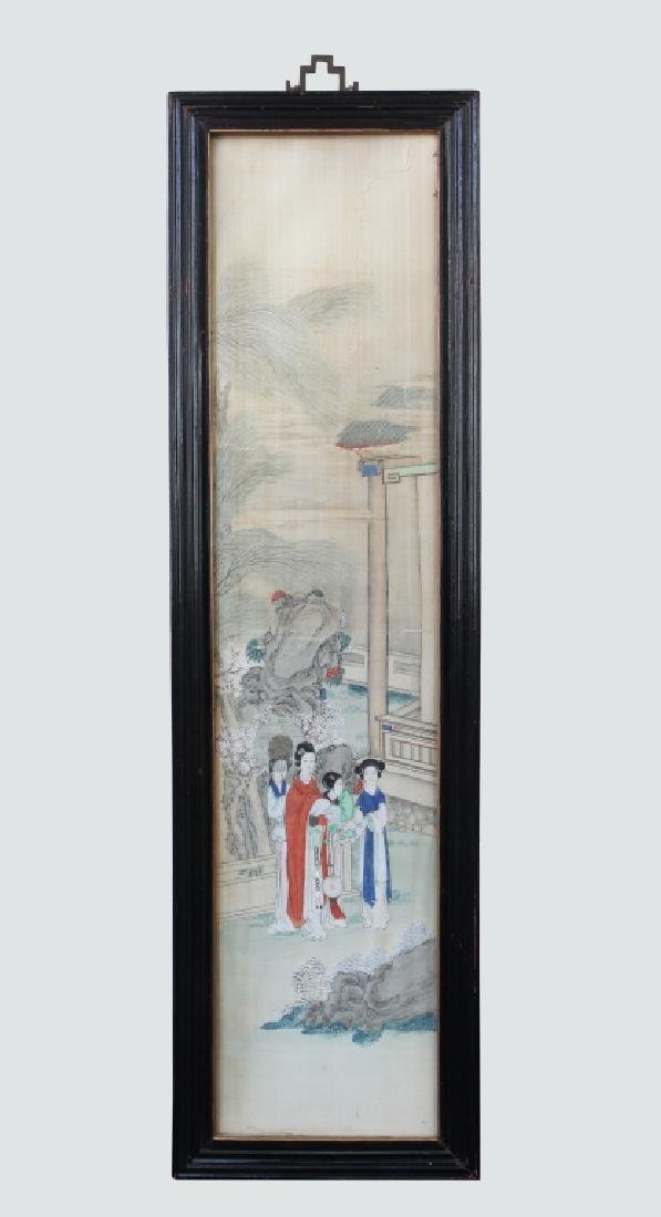 Two 19 C Chinese Paintings on Silk; Chinese Frames - 3