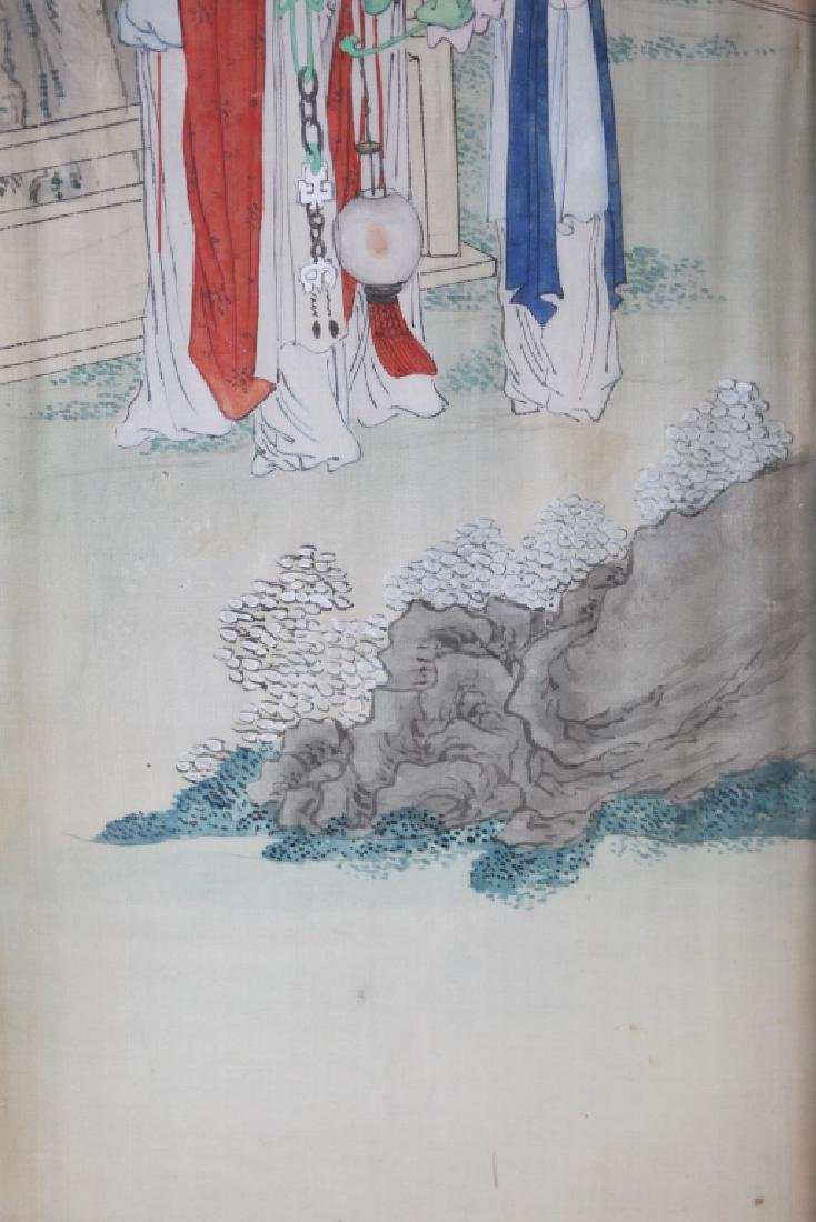 Two 19 C Chinese Paintings on Silk; Chinese Frames - 8