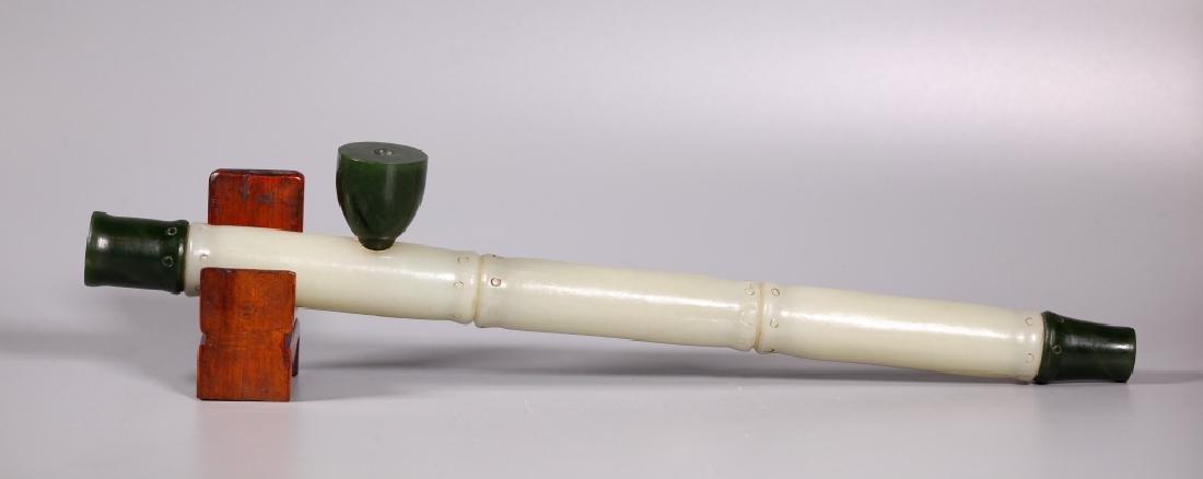 Chinese Jade Pipe Shaped Like Bamboo