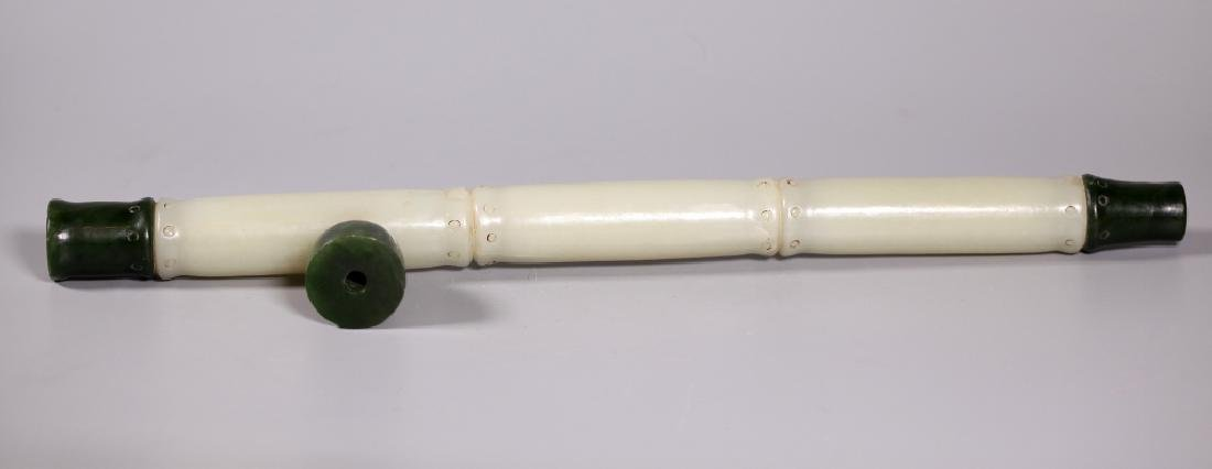 Chinese Jade Pipe Shaped Like Bamboo - 3