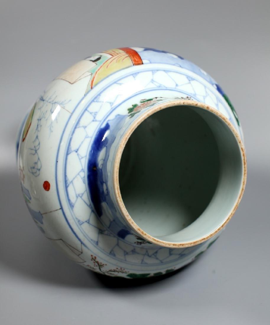 Chinese Wucai & Blue Figural Porcelain Temple Jar - 3