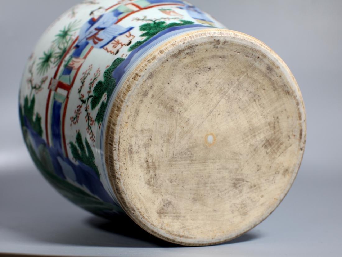Chinese Wucai & Blue Figural Porcelain Temple Jar - 4