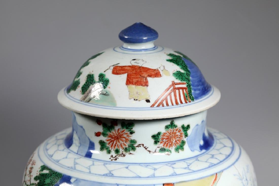 Chinese Wucai & Blue Figural Porcelain Temple Jar - 5