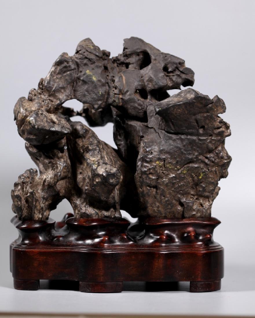 Fine Chinese Lingbi Black Stone Scholar's Rock