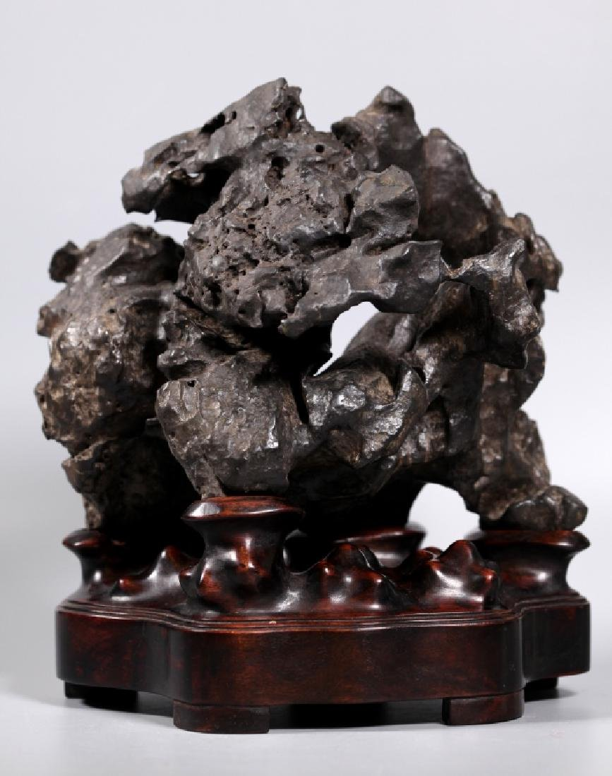 Fine Chinese Lingbi Black Stone Scholar's Rock - 2