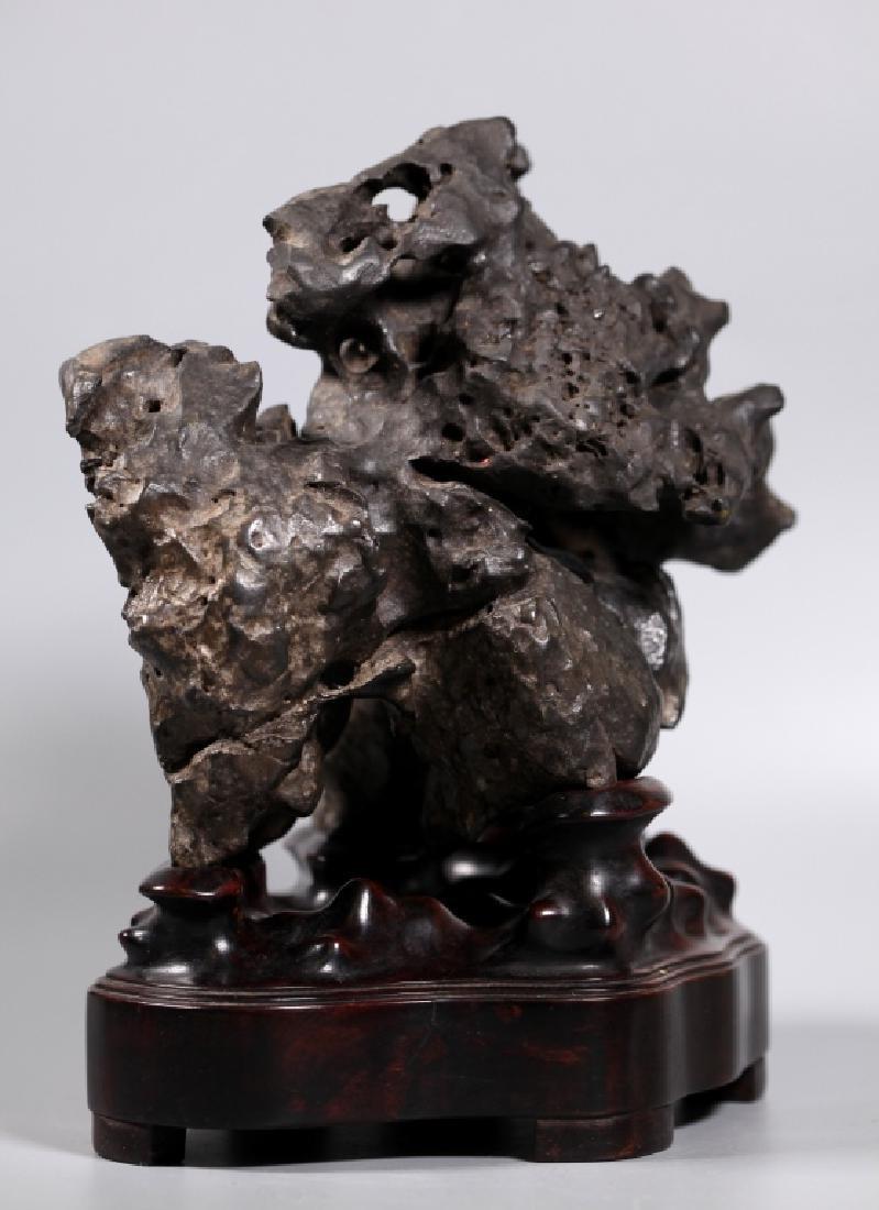 Fine Chinese Lingbi Black Stone Scholar's Rock - 3