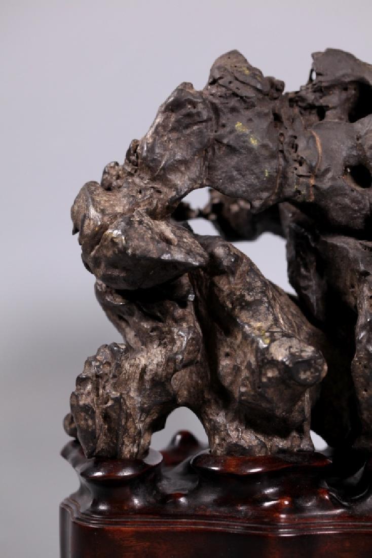 Fine Chinese Lingbi Black Stone Scholar's Rock - 4