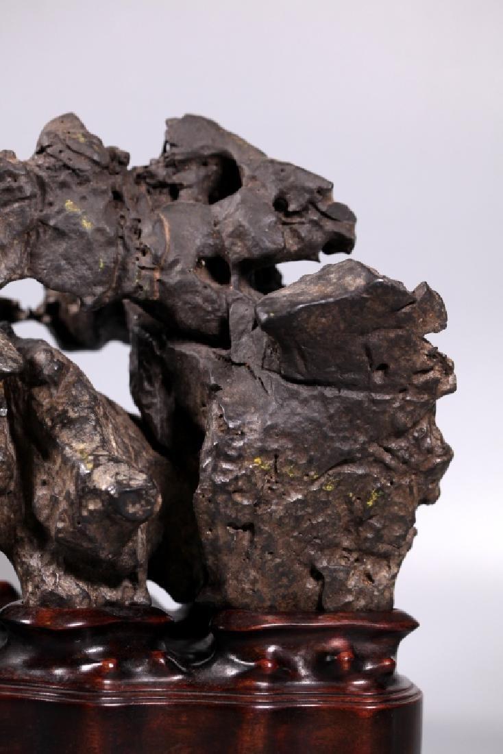 Fine Chinese Lingbi Black Stone Scholar's Rock - 5