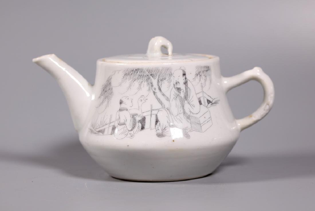 Chinese Diamond-Scratched Porcelain Teapot