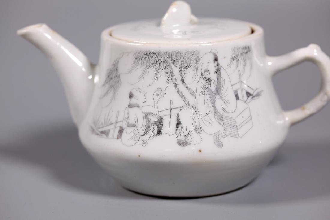 Chinese Diamond-Scratched Porcelain Teapot - 6