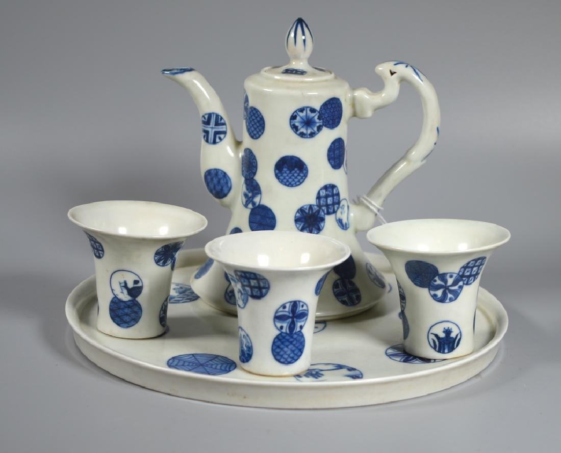 Chinese B & W Porcelain Wine Pot, Tray, 3 Cups