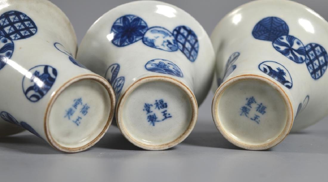 Chinese B & W Porcelain Wine Pot, Tray, 3 Cups - 3