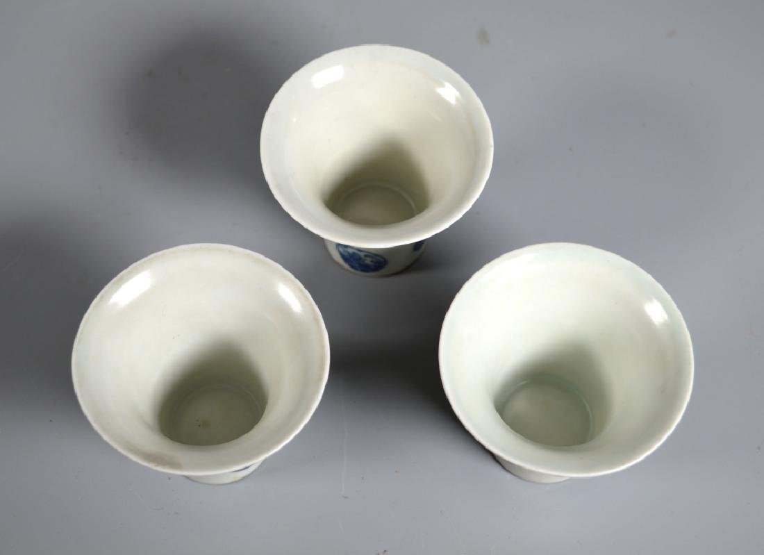 Chinese B & W Porcelain Wine Pot, Tray, 3 Cups - 4