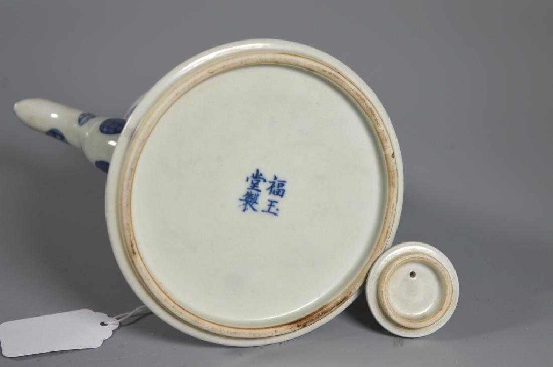 Chinese B & W Porcelain Wine Pot, Tray, 3 Cups - 6