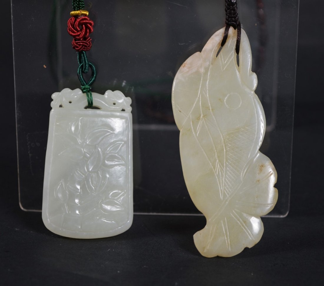 Two Chinese Qing White Carved Jade Plaque & Pendant