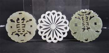 3 Late Qing Chinese Pierced & Polished Jade Pendants
